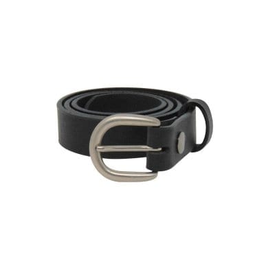 Black leather dress belt for women