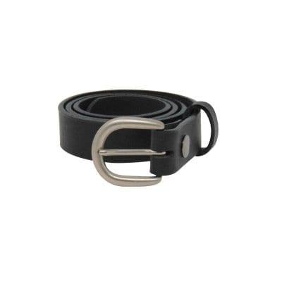 Black leather dress belt for women