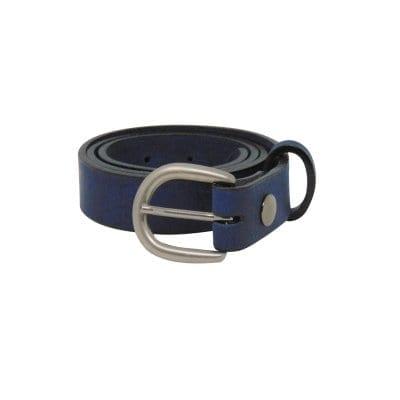 Blue leather dress belt for women