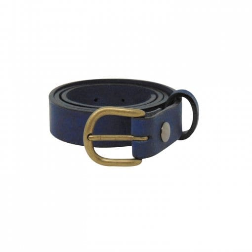 Blue leather dress belt for women