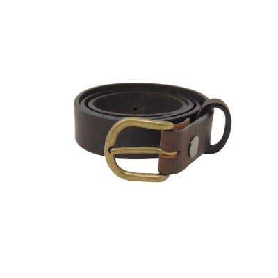 Brown leather dress belt for women