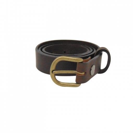 Brown leather dress belt for women