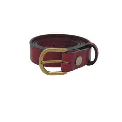 Burgundy leather dress belt for women