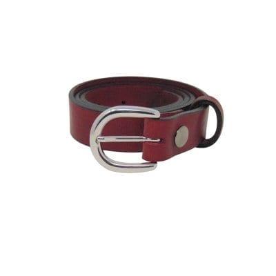 Burgundy leather dress belt for women
