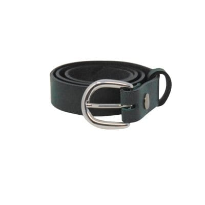 Green leather dress belt for women