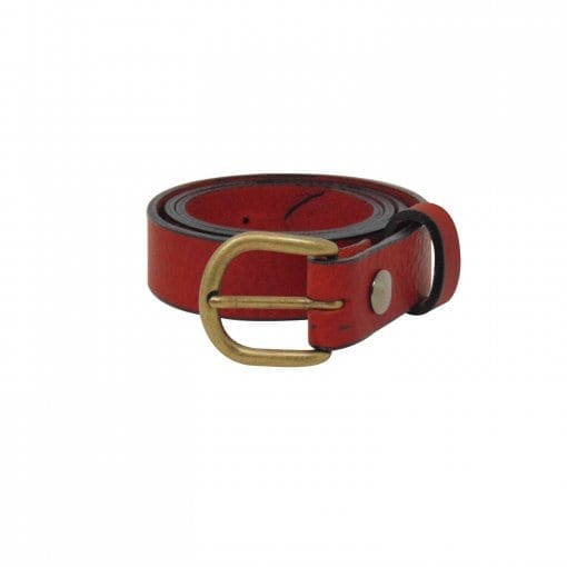 Red leather dress belt for women