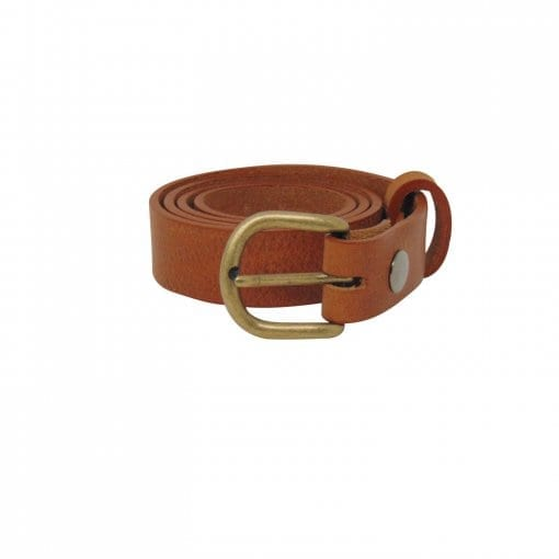 Tan leather dress belt for women