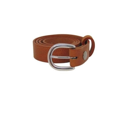 Tan leather dress belt for women