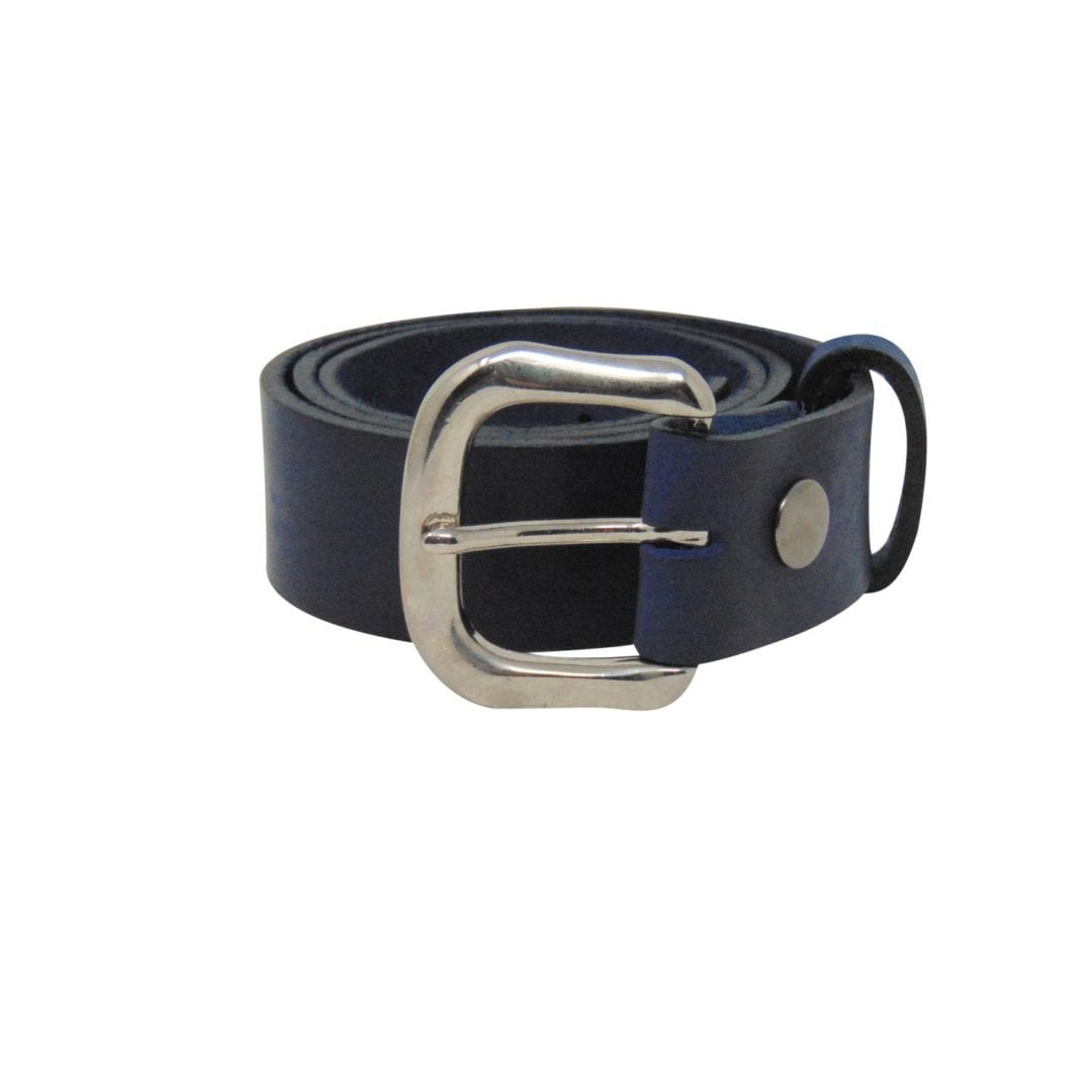 834b11a53 Womens blue leather jeans belt with a chrome buckle - Hip & Waisted ...