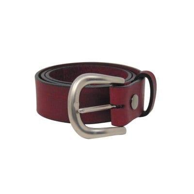 Burgundy leather jeans belt for women