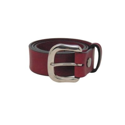 Burgundy leather jeans belt for women