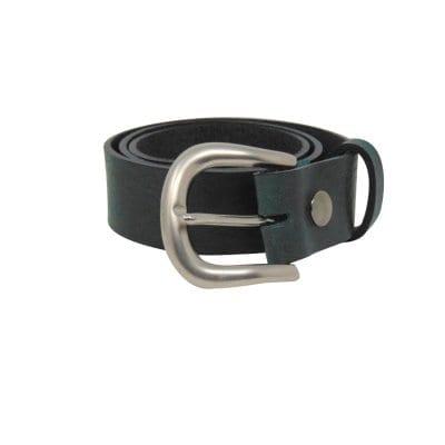 Green leather jeans belt for women