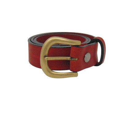 Red leather jeans belt for women